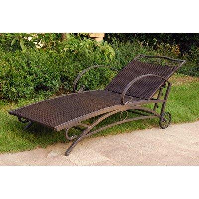 International Caravan Valencia Patio Chaise Lounge in Antique Black