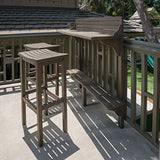 Great Deal Furniture 304147 Cassie Outdoor 3 Piece Grey Finish Acacia Wood Balcony Bar Set