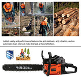 "IOOkME-H 20"" 62CC 2 Cycle Gas Chainsaw Double Spring Automatic Chain Oiler Great Handbar Electric Chainsaws (Orange&Black)"