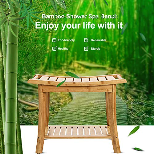 SONGMICS Bamboo Shower Bench Seat, Portable Spa Bathing Stool, with Towel Shelf for Indoor or Outdoor, Handles, Natural UBCB25Y