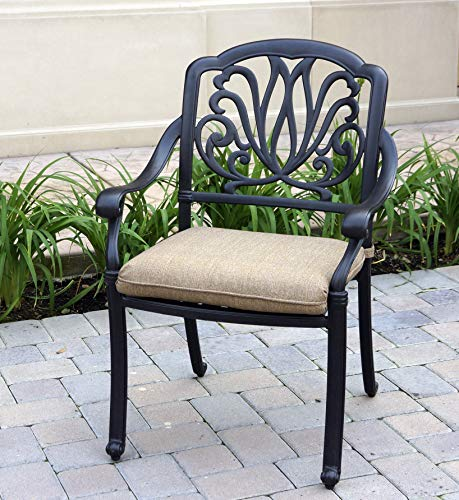 Darlee DL707-9PC-707XL Elisabeth Cast Aluminum 9 Piece Dining Set with Seat Cushions, Antique Bronze Finish