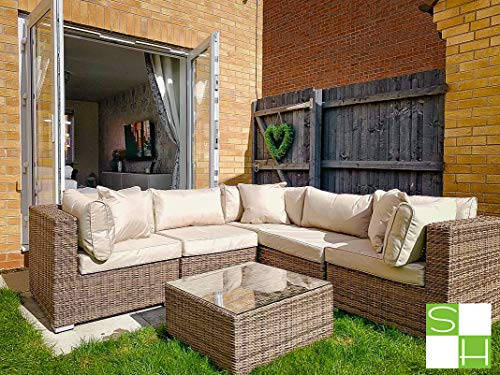 Stellahome Wicker Patio Furniture Conversation Set 6Pcs No Assembly Outdoor Sectional Sofa All Weather Aluminum L Shape Couch Modern Deck Rattan Furniture w/Free Waterproof Cover-Toss Pillows