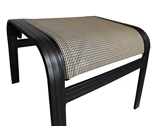 "J&M Patio Outdoor Ottoman 17"" H Aluminum Relaxing Footstool in Black & Tan Finish"