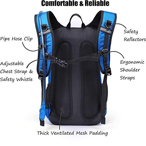 Hydration Backpack 2L Water Bladder - Insulated Lightweight Pack Running Hiking Riding Camping Cycling Climbing Fits Men & Women