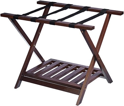 AmazonBasics Wooden Folding Suitcase Luggage Rack Stand with Shelf - Espresso