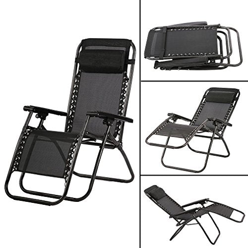 FDW Zero Gravity Chair Patio Lounge Recliners Adjustable Folding Set of 2 for Pool Side Outdoor Yard Beach, Black