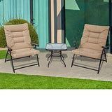 SUNCROWN Patio Padded Folding 3 Pieces Chair Set Adjustable Reclining Outdoor Furniture Metal Sling Chair with Coffee Table