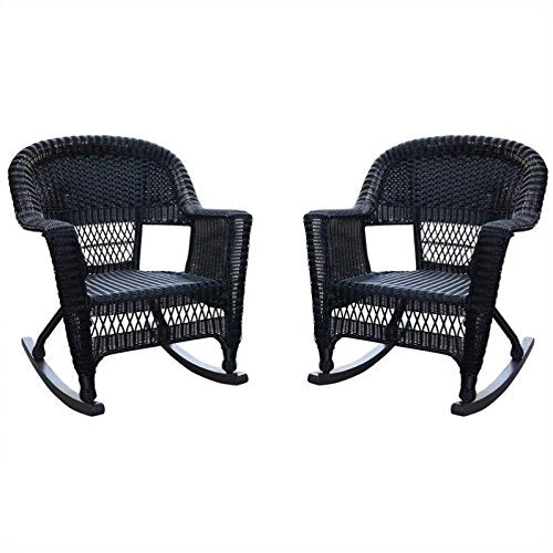 Jeco W00207R-D_2 Set of 2 Wicker Rocker Chairs, Black