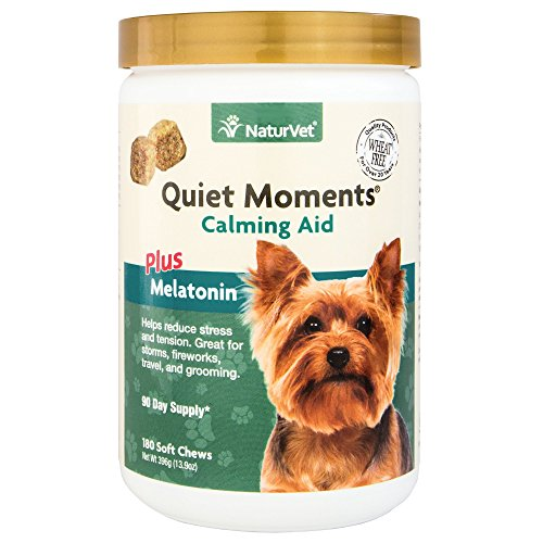 NaturVet - Quiet Moments Calming Aid for Dogs - Plus Melatonin - Helps Reduce Stress & Promote Relaxation - Great for Storms, Fireworks, Separation, Travel & Grooming - 180 Soft Chews
