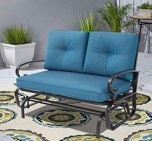 Incbruce Outdoor Swing Glider Rocking Chair Patio Bench for 2 Person, Garden Loveseat Seating Patio Wrought Iron Chair Set with Cushion, Peacock Blue