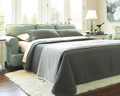 Ashley Furniture Signature Design - Daystar Sleeper Sofa with 4 Pillows - Queen Mattress - Seafoam