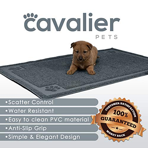 Cavalier Pets, Extra Large Dog Bowl Mat for Cats and Dogs, Silicone Non-Slip Absorbent Waterproof Dog Food Mat, Water Resistant and Easy to Clean, Unique Paw Design, 36 by 24 Inch, Grey