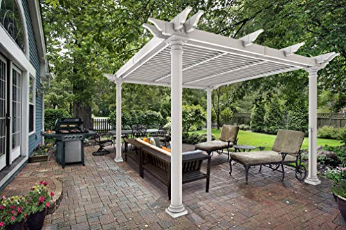 New England Arbors Preston 10' x 10' Round Post Louvered Pergola