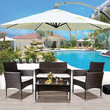 LZ LEISURE ZONE 4 PC Rattan Patio Furniture Set Outdoor Garden Cushioned Seat Wicker Sofa (Brown)