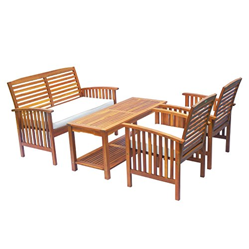Outsunny 4 Piece Patio Outdoor Chat Conversation Table Chair Set Acacia Wood Lounger