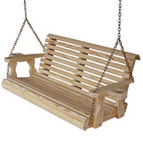 CAF Amish Heavy Duty 800 Lb Roll Back 4ft. Treated Porch Swing With Cupholders