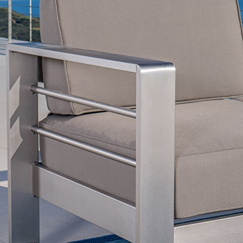 GDF Studio 299431 Crested Bay Outdoor Aluminum Khaki Sofa with Tray