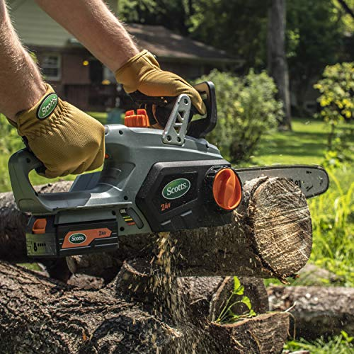 Scotts LCS31224S 12 in. 24-Volt Lithium Ion Cordless Chainsaw, 2.5Ah Battery and Charger Included