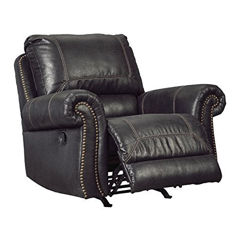 Ashley Furniture Signature Design - Milhaven Faux Leather Upholstered Power Rocker Recliner - Contemporary - Black
