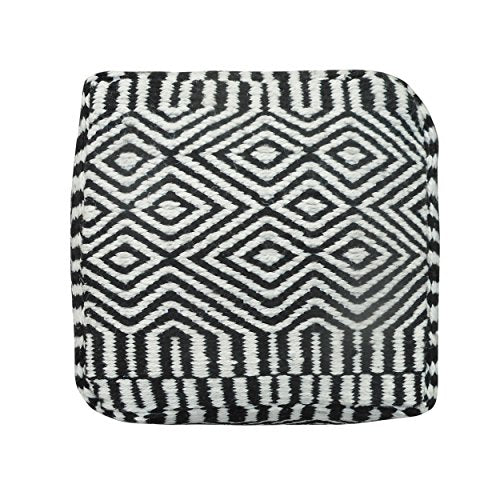 Great Deal Furniture 304839 Adams Outdoor Modern Boho Pouf, Black with White
