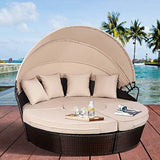 TANGKULA Patio Furniture Outdoor Lawn Backyard Poolside Garden Round with Retractable Canopy Wicker Rattan Round Daybed, Seating Separates Cushioned Seats