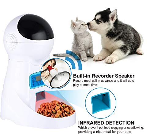 JOYTOOL Automatic Cat Feeder Pet Dog Food Dispenser Feeder For Small Medium Large Cat Dog-4 Meal Timer Programmable Voice Recorder Portion Control