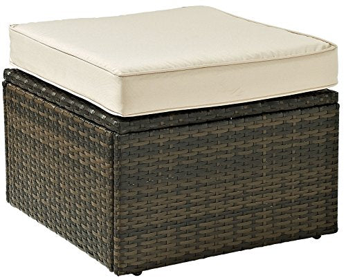 Crosley Furniture Palm Harbor Outdoor Wicker Ottoman with Tan Cushion - Brown