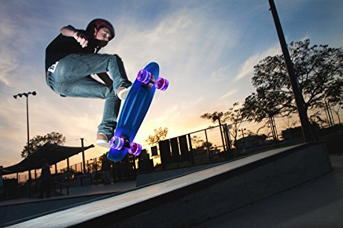 "Merkapa 22"" Complete Skateboard with Colorful LED Light Up Wheels for Beginners (Black Wheels Board)"