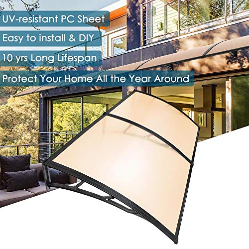 "Yescom 79x40"" Door Window Outdoor Awning 2 Whole Hollow Polycarbonate Sheets Cover UV Rain Snow Protection"