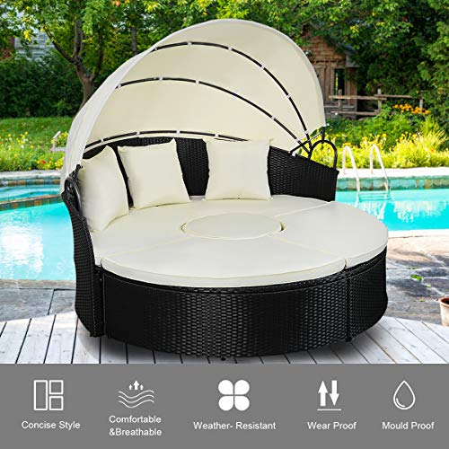 TANGKULA Patio Furniture Outdoor Lawn Backyard Poolside Garden Round with Retractable Canopy Wicker Rattan 72.5 inch Round Daybed, Seating Separates Cushioned Seats (3 Pillows)