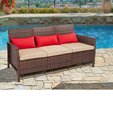 SUNCROWN Outdoor Furniture Patio Sofa Couch (Seats 3) Garden, Backyard, Porch or Pool, All-Weather Wicker with Thick Cushions, Easy to Assemble