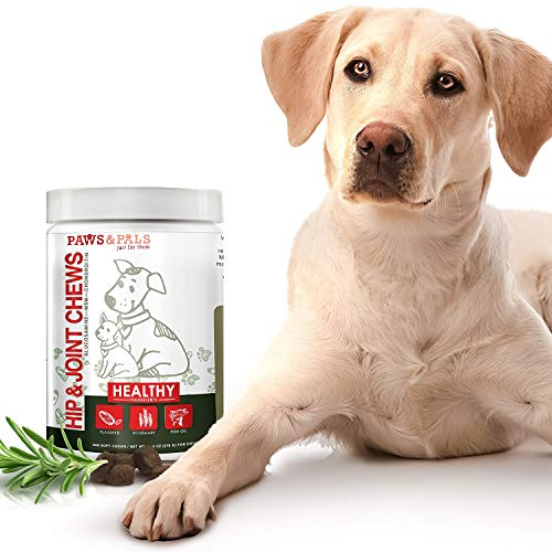 Paws & Pals Glucosamine Supplement for Dogs: Hip & Joint Health Supplements with Chondroitin & MSM for Pain Relief & Senior Dog/Cat Arthritis Support - Chewable Pet Multi Vitamin - 240 Soft Chews