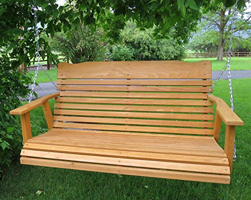 Kilmer Creek 4' Cedar Porch Swing W/stained Finish, Amish Crafted - Includes Chain & Springs