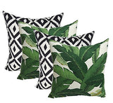 "Resort Spa Home Decor Set of 4 Indoor Outdoor Decorative Throw Pillows,Tommy Bahama Fabric Swaying Palms Aloe Green Tropical Palm Leaf & Black White Aztec Geometric - Choose Size (17"" x 17"")"