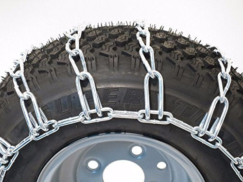 The ROP Shop New Pair 2 Link TIRE Chains 20x10.00x8 for John Deere Lawn Mower Tractor Rider