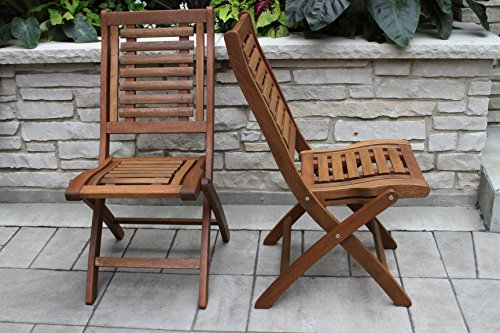 Folding Eucalyptus Side Chair Fully Assembled, 2 pack
