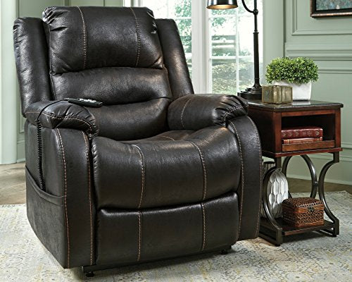 Ashley Furniture Signature Design - Yandel Power Lift Recliner - Contemporary Reclining - Black