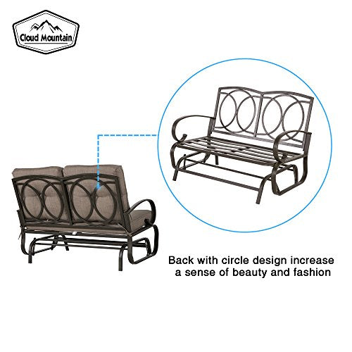 Cloud Mountain Patio Glider Bench Outdoor Cushioned 2 Person Swing Loveseat Rocking Seating Patio Swing Rocker Lounge Glider Chair, Gradient Brown