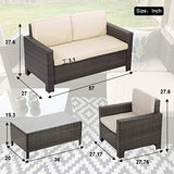 FDW 4 Pieces Outdoor Patio PE Rattan Wicker Sofa Sectional Furniture Set with Cushion