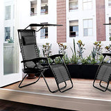 Zero Gravity Chair Patio Chairs Lounge Chair 2 Pack Recliner W/Folding Canopy Shade and Cup Holder for Outdoor Funiture