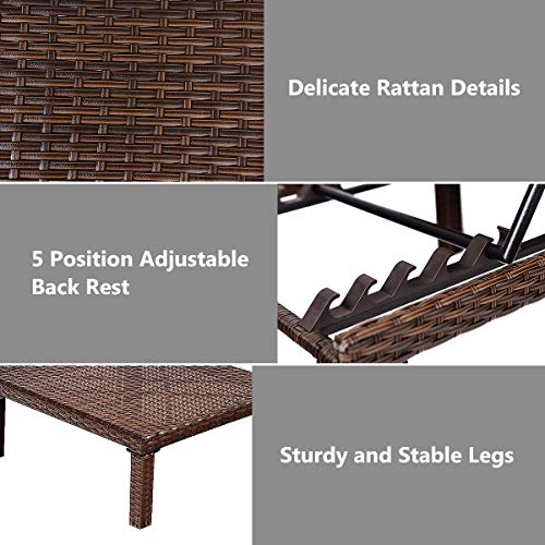 Tangkula Patio Reclining Chaise Lounge Outdoor Beach Pool Yard Porch Wicker Rattan Adjustable Backrest Lounger Chair (Brown Without Wheel and Pillow)