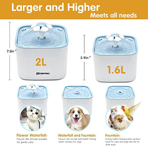 Pet Fountain Cat Water Dispenser - Healthy and Hygienic Drinking Fountain Super Quiet Flower Automatic Electric Water Bowl with 2 Replacement Filters for Dogs, Cats, Birds and Small Animals Blue