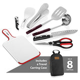 Camp Kitchen Utensil Organizer Travel Set - Portable 8 Piece BBQ Camping Cookware Utensils Travel Kit with Water Resistant Case|Cutting Board|Rice Paddle|Tongs|Scissors|Knife and Bottle Opener (Black)
