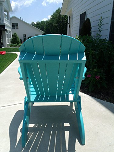 Furniture Barn USA Premium Folding Adirondack Chair w/Cup Holder - Poly Lumber - Aruba Blue