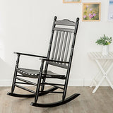 B&Z KD-22B Black Wood Rocking Chairs Adult Patio Carved Vintage Outdoor Indoor