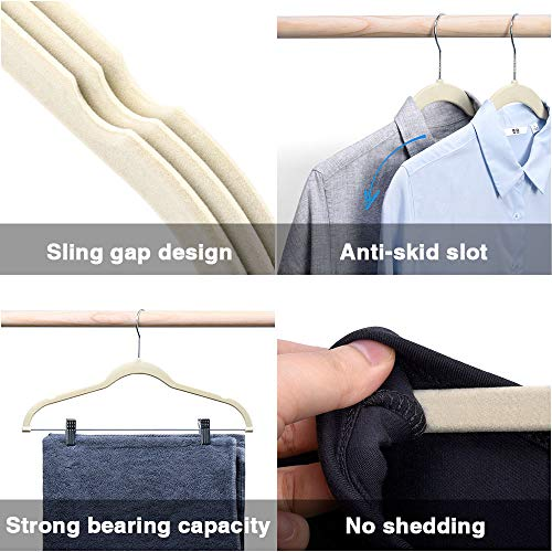 HOUSE DAY Velvet Skirt Hangers - Pack of 24 - Velvet Hangers with Clips Ultra Thin Non Slip Velvet Pants Hangers Space Saving Clothes Hanger (Beige)