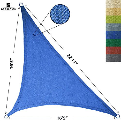 LyShade 12' x 12' x 17' Right Triangle Sun Shade Sail Canopy (Blue) - UV Block for Patio and Outdoor