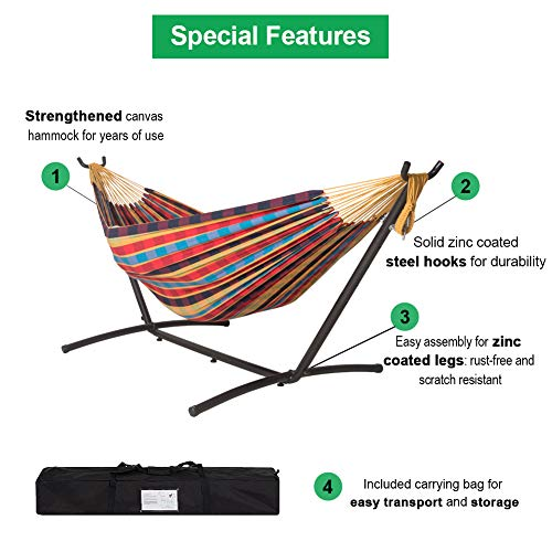 Lazy Daze Hammocks Double Hammock with 9FT Space Saving Steel Stand Includes Portable Carrying Case, 450 Pounds Capacity, Multi-Lattice