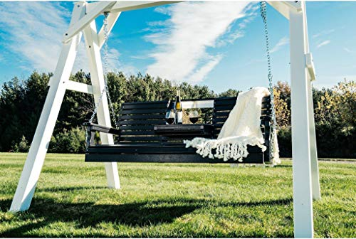 LuxCraft Rollback 5ft Recycled Plastic Plain Porch Swing with Flip Down Center Console