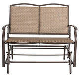 Marble Field Patio Swing Glider Bench for 2 person, Garden Rocking Loveseat Chair, Rattan Resin Wicker Brown
